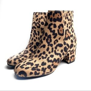 Time and Tru Leopard Print Ankle Booties Boots